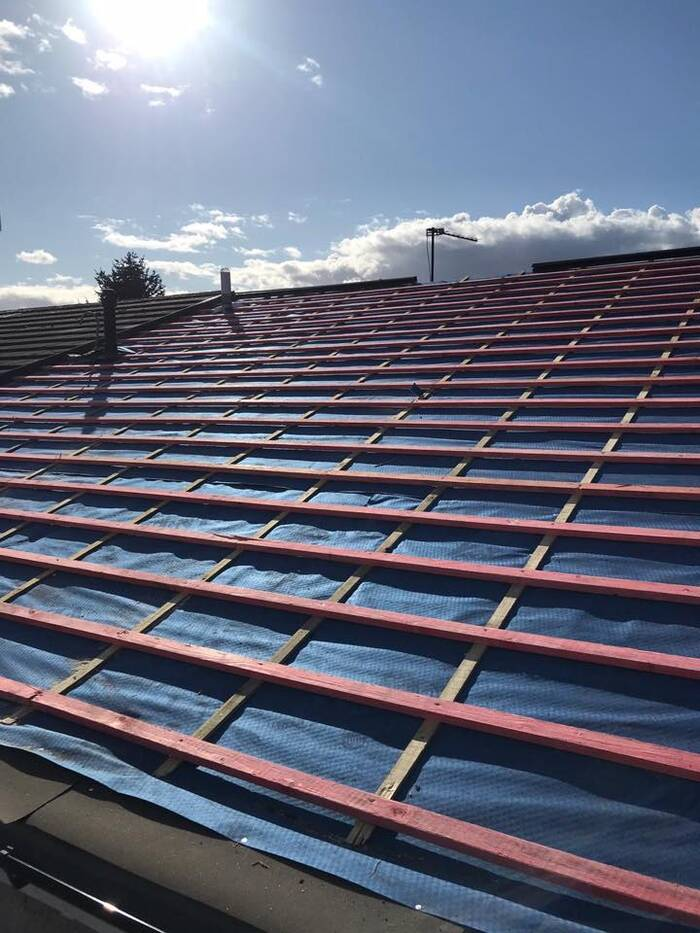 new roof being laid