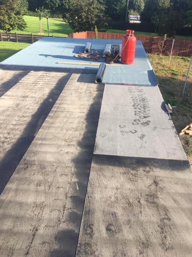Flat roof being laid