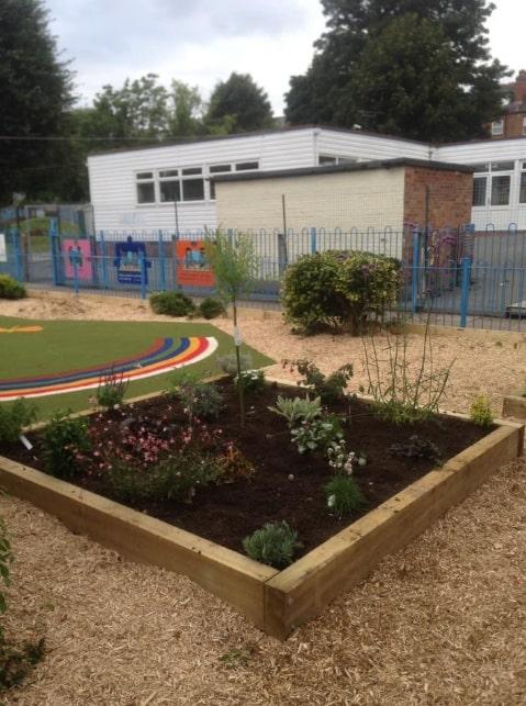 wooden planter in school