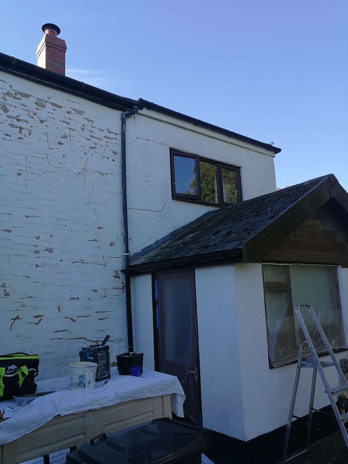 House being prepared for painting in Barnstaple