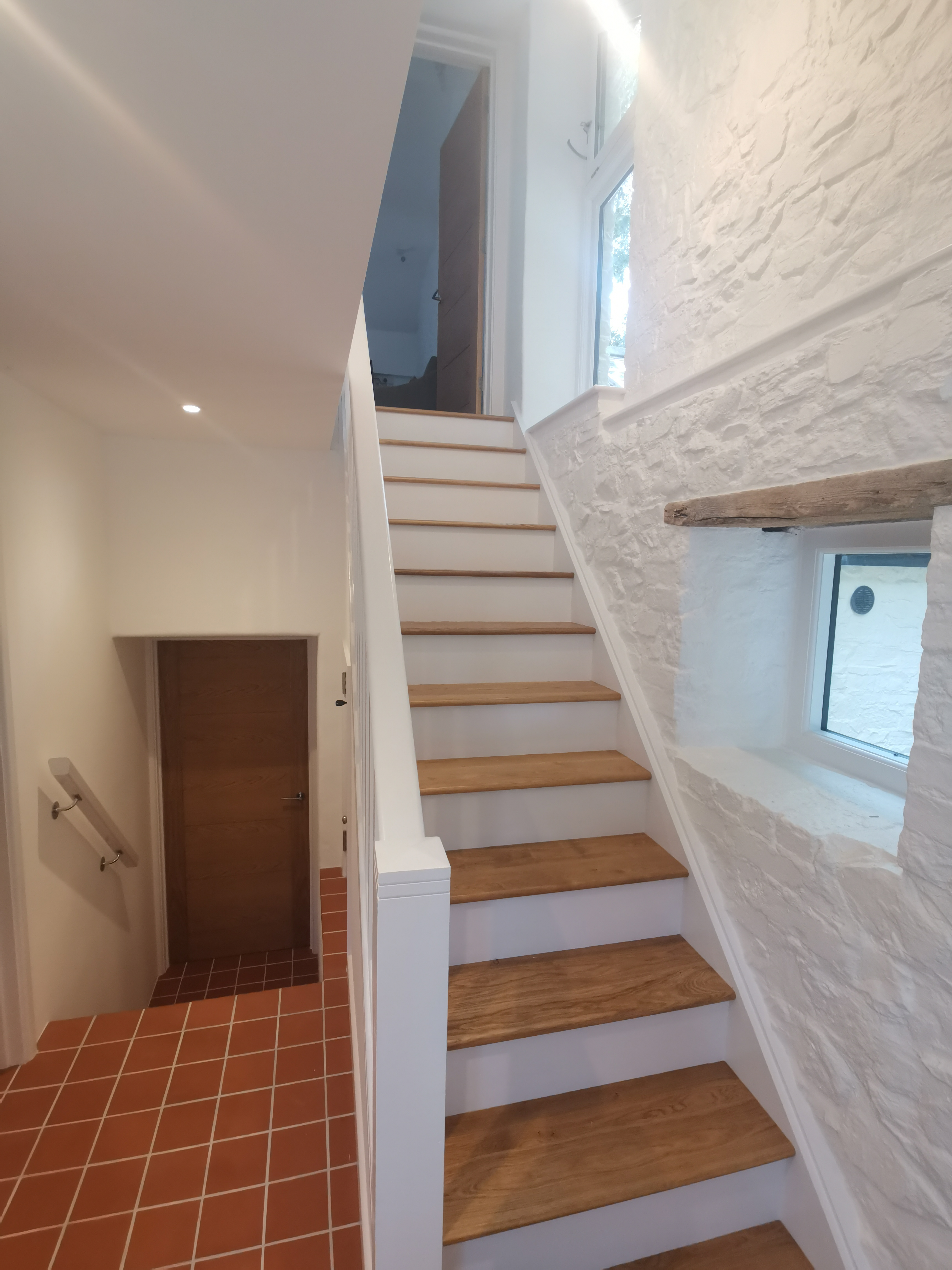 Painted stairwell and hallway